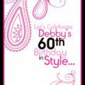 Birthday Party invite - Pink Paisley