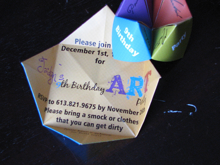 Cootie Catcher Birthday Party Invitation from Daisy Designs