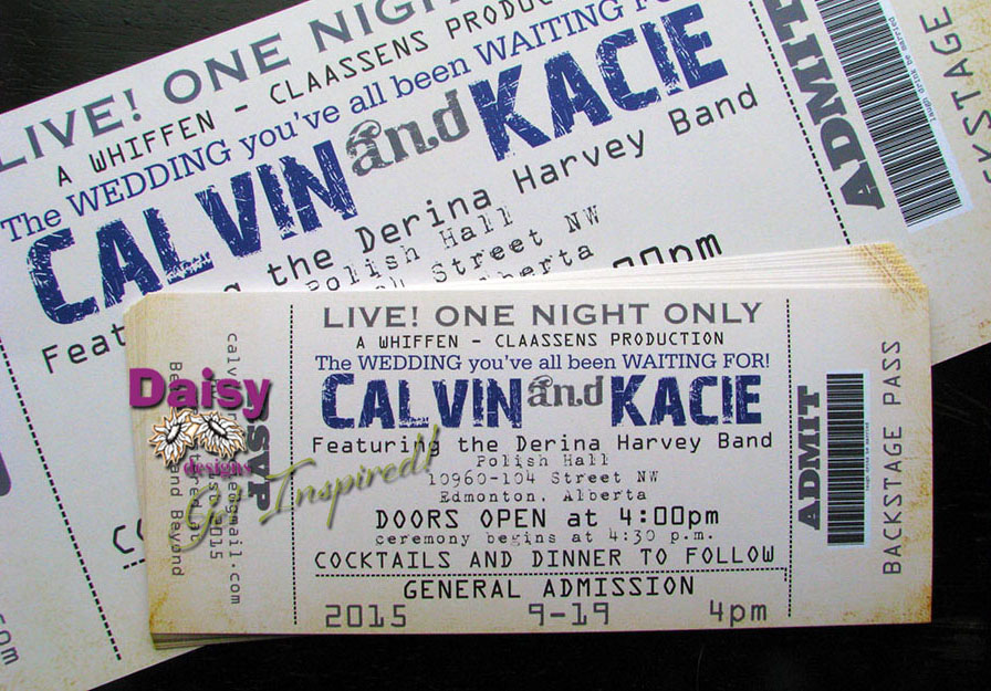 Concert Ticket Wedding Invitation by Daisy Designs – Invitations That Look Like Concert Tickets