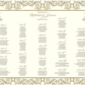 Ornate Gold Filigree Table Chart