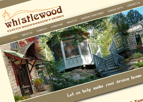 Website for Whistlewood Custom Woodworking and Design