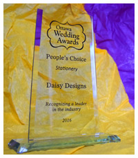 Ottawa Wedding Awards 2016 - People's Choice for Stationery - Daisy Designs