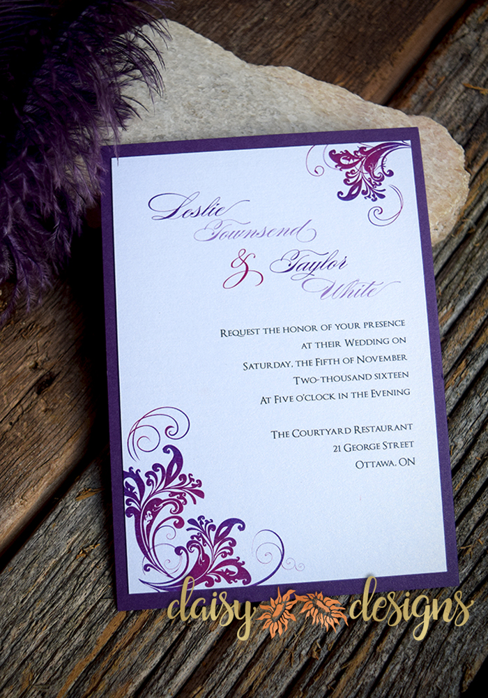 Simply layered invitation on purple paper