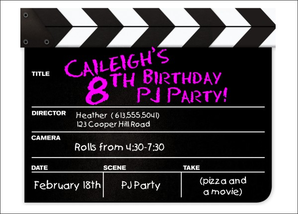 movie clapper kids party invitation template by daisy designs. Black Bedroom Furniture Sets. Home Design Ideas
