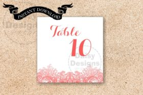 Instant Download - Coral Reef Table Numbers 1 - 20