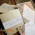 wedding invitation and rsvp with printed marble pattern and geometric shapes