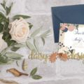 Blush Navy Save-The-Date card and envelope