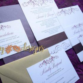 Contemporary Merlot Invitation suite