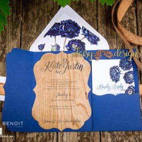 Wood and Roses invite and rsvp