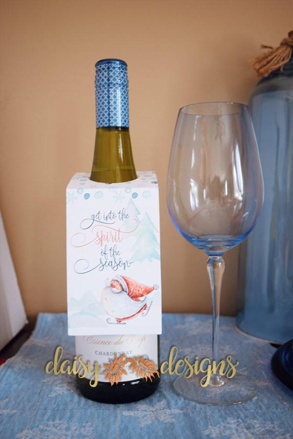 Santa Spirit wine bottle tag